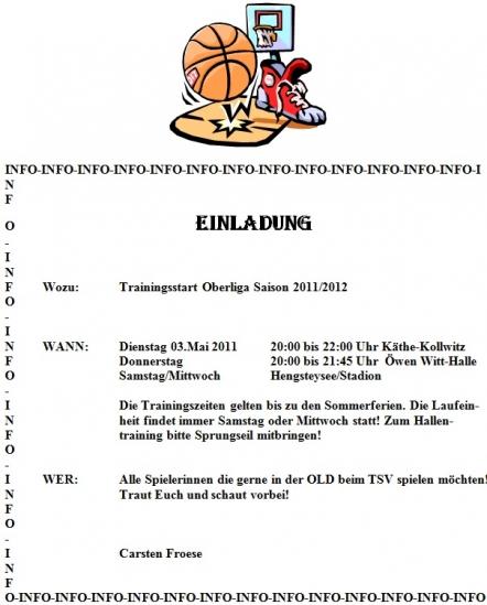 Einladung zum Try Out für die Oberliga 2011/2012